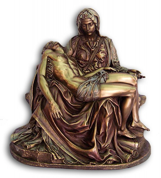 Pieta Statue in Bronzed Resin - 10.5 inches - Bronze