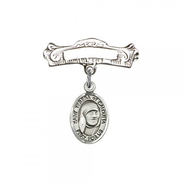 Pin Badge with St. Teresa of Calcutta Charm and Arched Polished Engravable Badge Pin - Silver tone