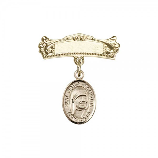 Pin Badge with St. Teresa of Calcutta Charm and Arched Polished Engravable Badge Pin - Gold Tone