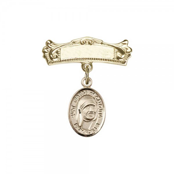 Pin Badge with St. Teresa of Calcutta Charm and Arched Polished Engravable Badge Pin - 14K Solid Gold