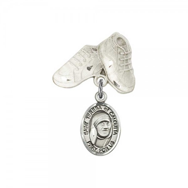 Pin Badge with Blessed Teresa of Calcutta Charm and Baby Boots Pin - Silver tone