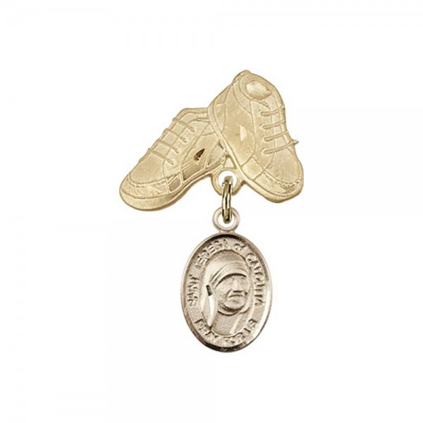 Pin Badge with Blessed Teresa of Calcutta Charm and Baby Boots Pin - Gold Tone