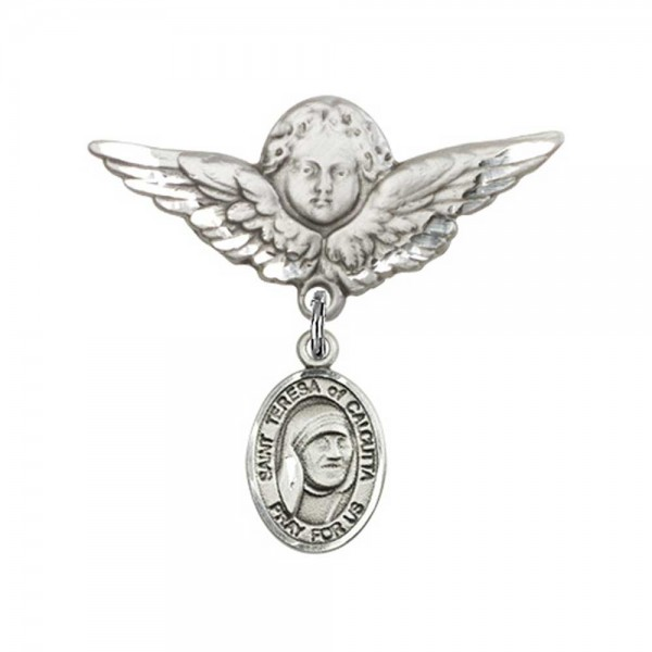Pin Badge with St. Teresa of Calcutta Charm and Angel with Larger Wings Badge Pin - Silver tone