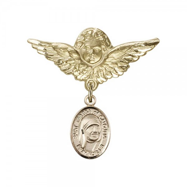 Pin Badge with St. Teresa of Calcutta Charm and Angel with Larger Wings Badge Pin - 14K Yellow Gold