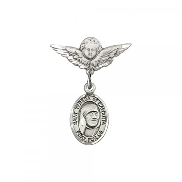 Pin Badge with St. Teresa of Calcutta Charm and Angel with Smaller Wings Badge Pin - Silver tone