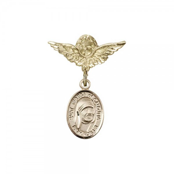 Pin Badge with St. Teresa of Calcutta Charm and Angel with Smaller Wings Badge Pin - 14K Solid Gold