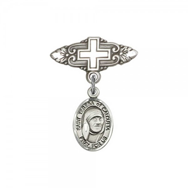 Pin Badge with St. Teresa of Calcutta Charm and Badge Pin with Cross - Silver tone