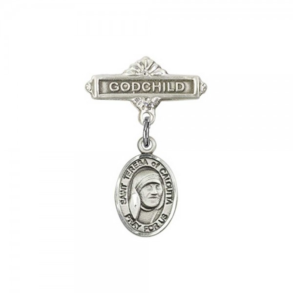 Pin Badge with St. Teresa of Calcutta Charm and Godchild Badge Pin - Silver tone