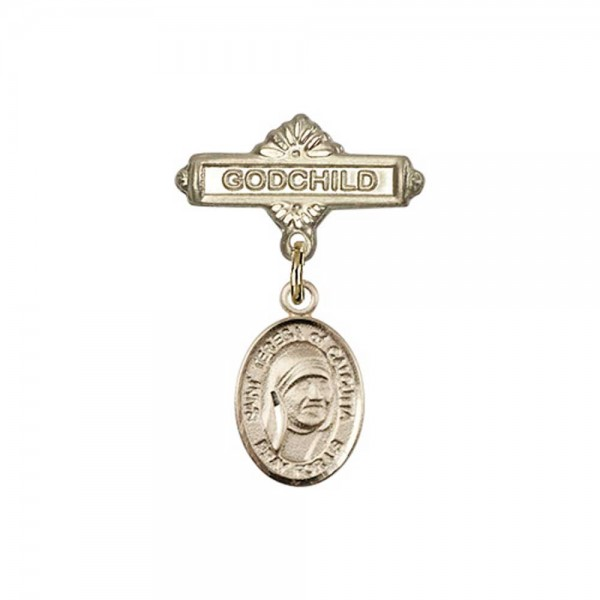 Pin Badge with St. Teresa of Calcutta Charm and Godchild Badge Pin - 14K Solid Gold