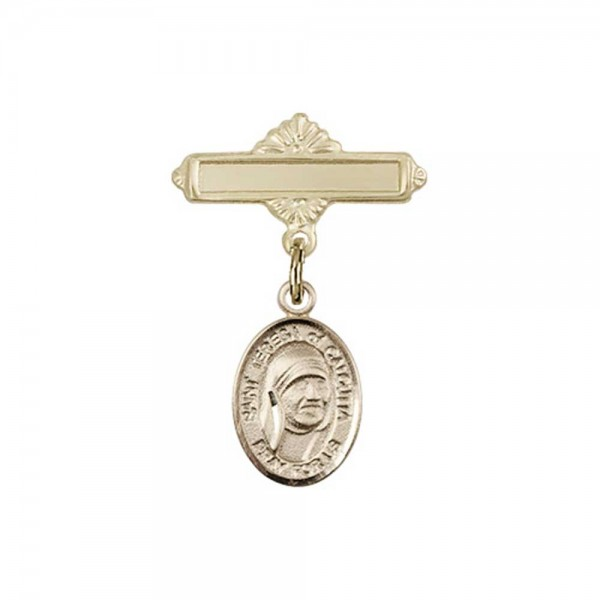Pin Badge with St. Teresa of Calcutta Charm and Polished Engravable Badge Pin - Gold Tone