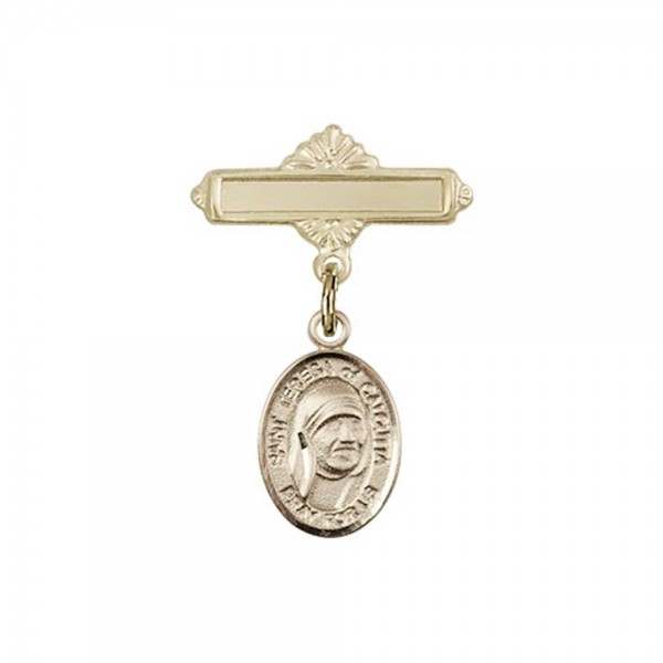 Pin Badge with St. Teresa of Calcutta Charm and Polished Engravable Badge Pin - 14K Yellow Gold