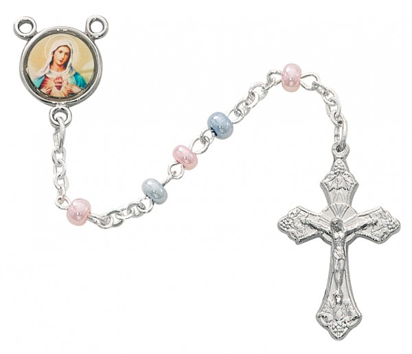 Pink And Blue Rosary, 3mm - Pink | Blue