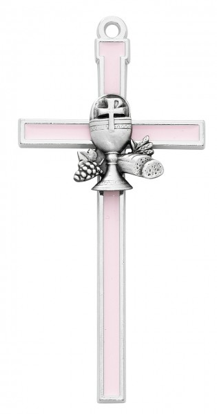 Pink First Communion Wall Cross 5 inch - Pink | Silver
