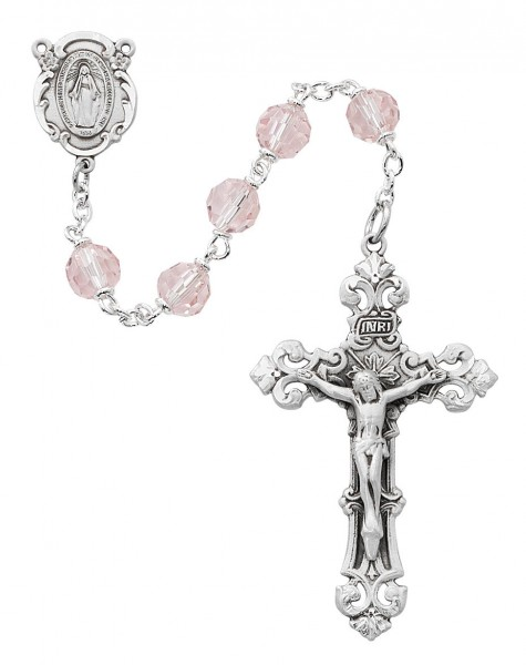 Pink Tin Cut Rosary with Fancy Crucifix - Pink