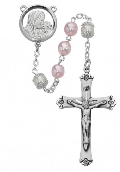 Pink and White Rosary with Sterling Silver Crucifix - White
