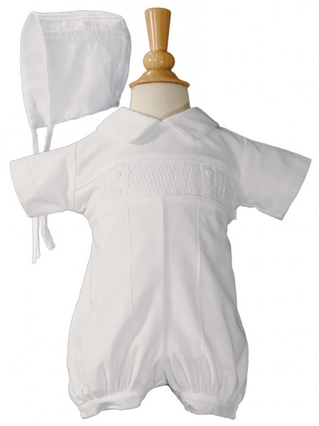 Pintucked Baptism Romper with Hand Smocked Front Panel - White