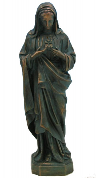 Plastic Immaculate Heart of Mary Statue - 24 inch - Patina