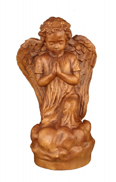 Plastic Kneeling Angel Statue - 16 inch - Woodstain
