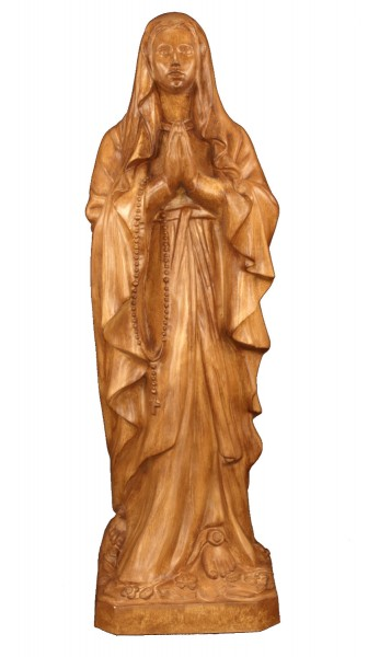 Plastic Our Lady of Lourdes Statue - 24 inch - Woodstain