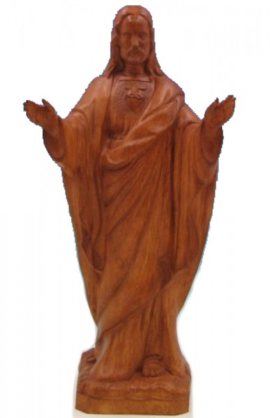 Plastic Sacred Heart of Jesus Statue - 24 inch - Woodstain