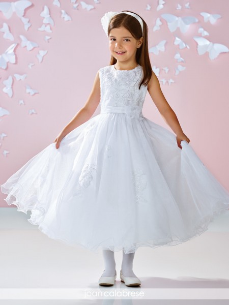 Plus Size First Communion Dress Heart-shaped Back  - White