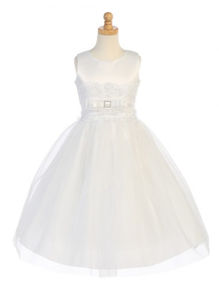 Plus Size First Communion Dress with Bow Accent - White