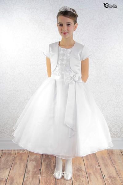 Plus Size First Communion Dress With Diamond Lattice