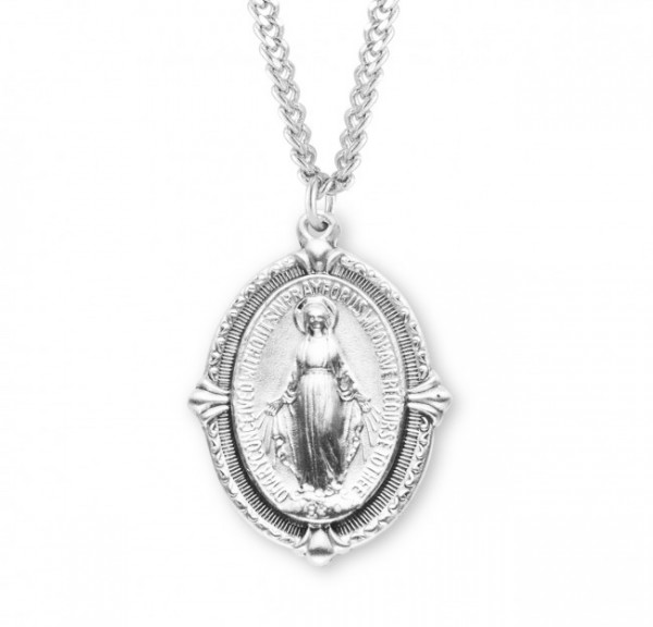 Pointed Tip Miraculous Medal Necklace - Sterling Silver