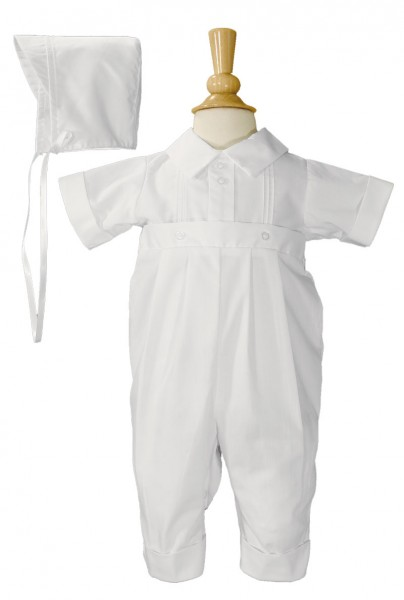 Boys Poly-Cotton Baptism Coverall with Pin Tucking - White