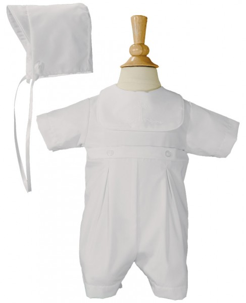Boys Baptism Romper with Screened Cross - White