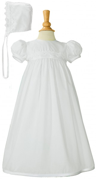 Girls Baptism Gown with Lace Appliques - White