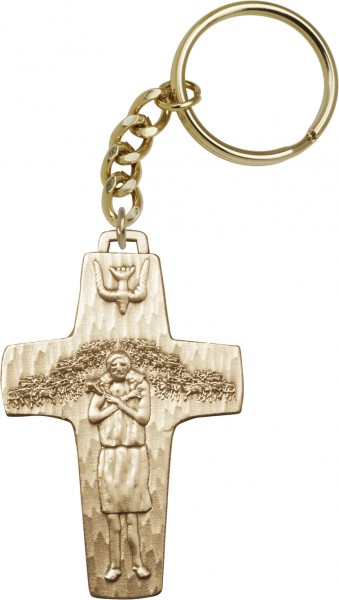 Pope Francis Papal Crucifix Keychain - Antique Gold