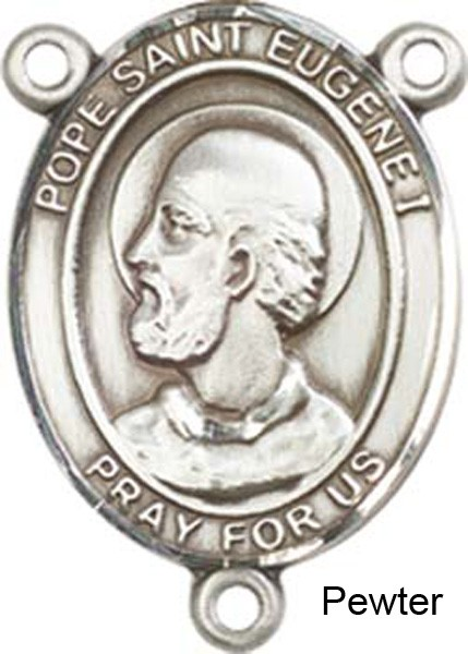Pope Saint Eugene I Rosary Centerpiece Sterling Silver or Pewter - Pewter
