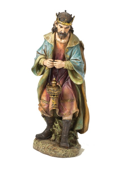 "Color Resin Praising Wise Man Statue 26.5"" H for 27"" Scale Nativity Set - Multi-Color"