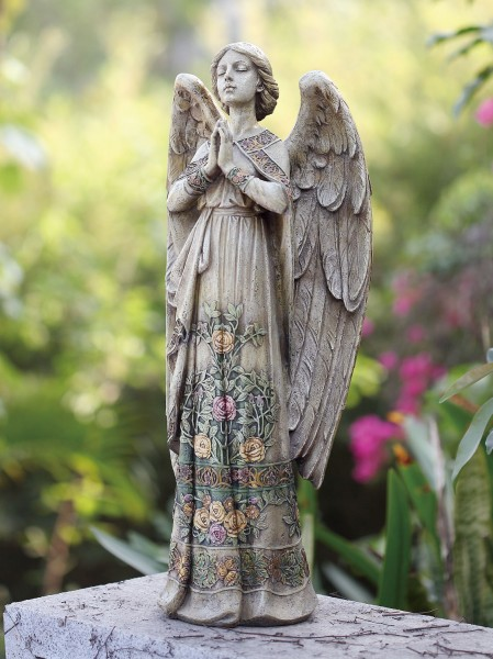 "Praying Angel Garden Statue with Floral Accents 24"" - Multi-Color"