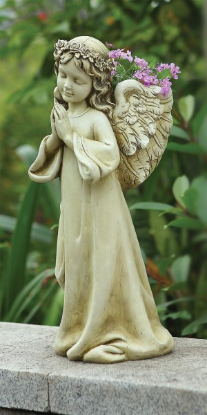 "Praying Angel Planter Garden Statue - 16""H - Multi-Color"