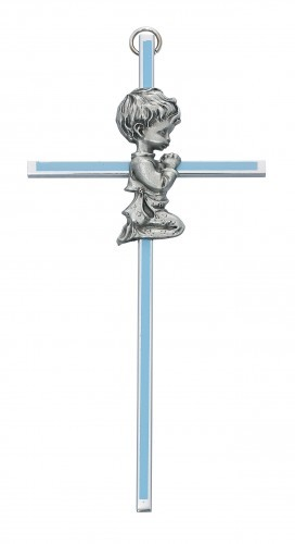 Praying Boy Blue Baby Cross - 6 - Blue