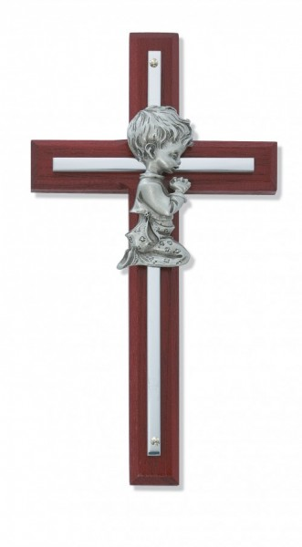 "Praying Boy Cherry Wood Wall Cross - 6""H - Cherry Wood"