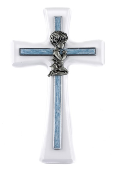Praying Boy White Wood Wall Cross - 7 inch - White