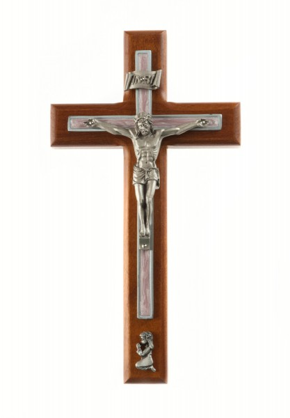 Praying Girl Cherry Wood Wall Crucifix - 8 inch - Pink | Silver