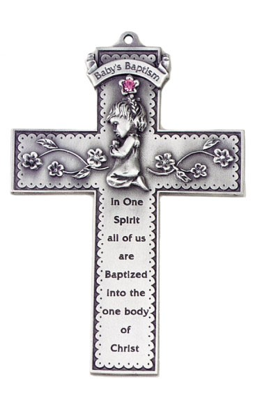 Praying Girl Pewter Baptism Cross with Pink Crystal - 5 inch - Silver