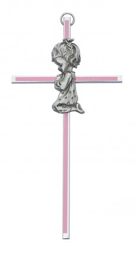"Praying Girl Pink Baby Cross - 6""H - Pink"