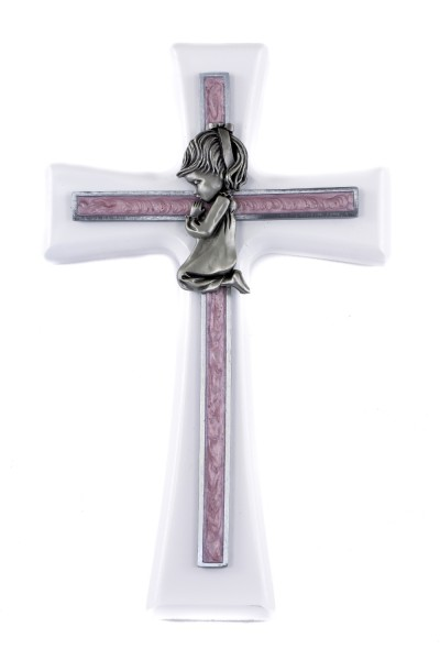 Praying Girl White Wood Wall Cross - 7 inch - White | Pink