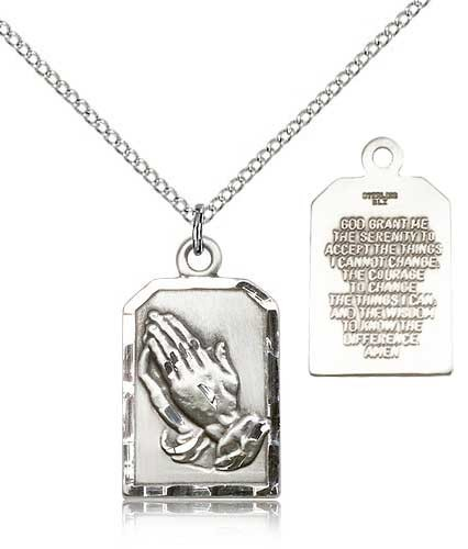 Praying Hands Pendant with Serenity Prayer - Sterling Silver