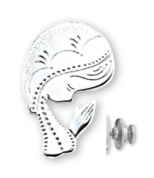 Praying Madonna Bust Lapel Pin Sterling Silver - Sterling Silver