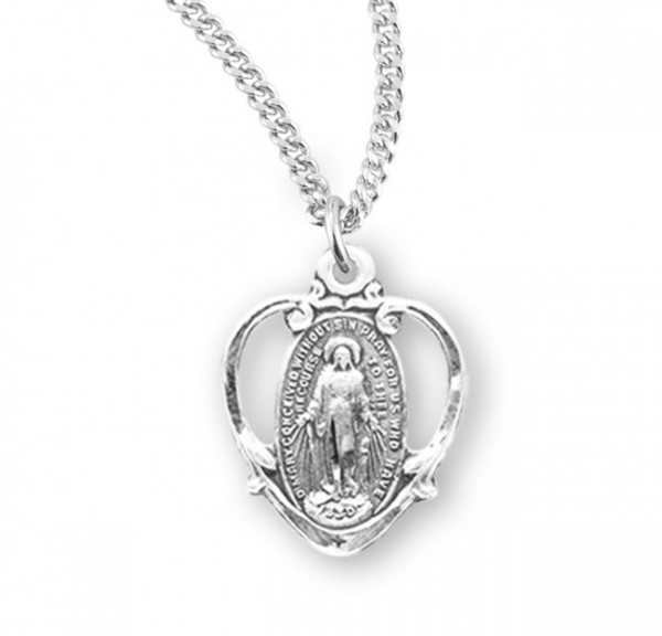Pretty Cut-Out Heart Miraculous Medal Necklace - Sterling Silver