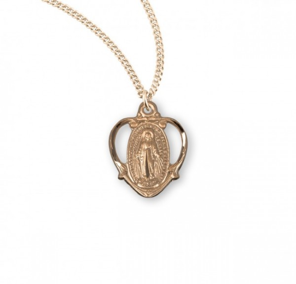 Pretty Cut-Out Heart Miraculous Medal Necklace - Gold Plated