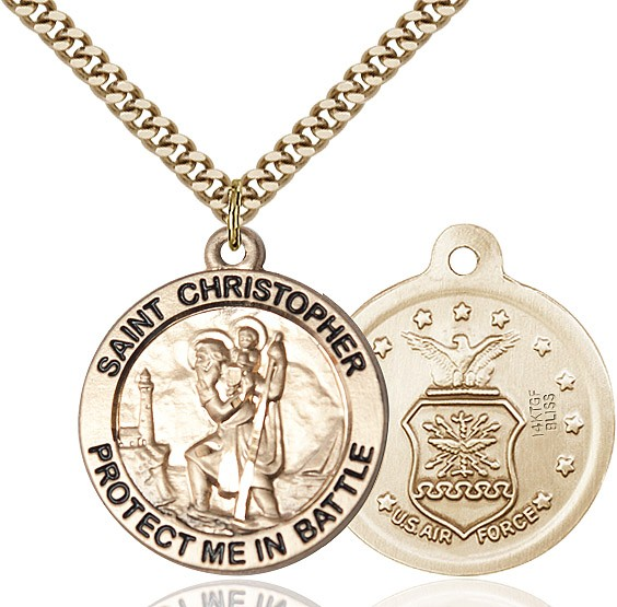 Protect Me In Battle Round St. Christopher Air Force Necklace - 14KT Gold Filled
