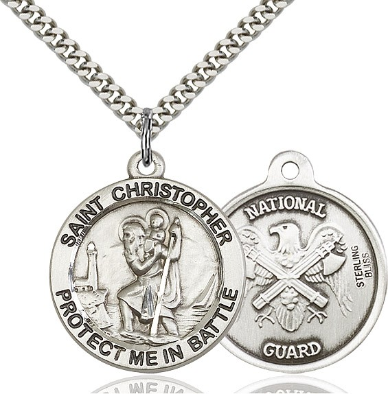 Protect Me In Battle Round St. Christopher National Guard Necklace - Sterling Silver