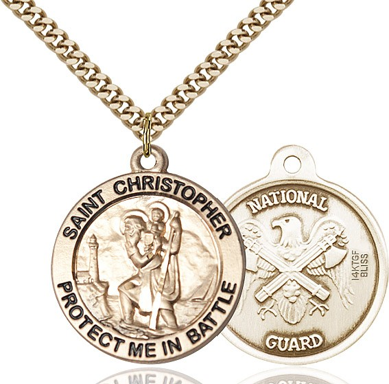 Protect Me In Battle Round St. Christopher National Guard Necklace - 14KT Gold Filled